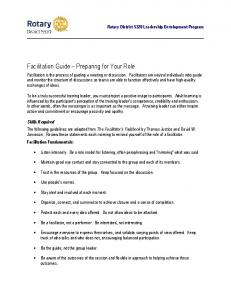 Facilitation Guide Preparing for Your Role