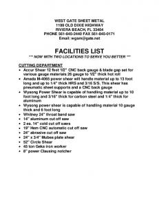 FACILITIES LIST *** NOW WITH TWO LOCATIONS TO SERVE YOU BETTER ***