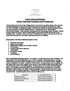 FACILITIES SERVICES Green Cleaning Practices and Procedures