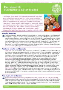 Fact sheet 12: Fun things to do for all ages