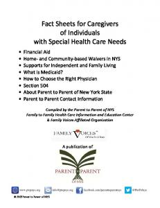 Fact Sheets for Caregivers of Individuals