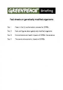 Fact sheets on genetically modified organisms