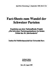 Fact-Sheets zum Wandel der Schweizer Parteien
