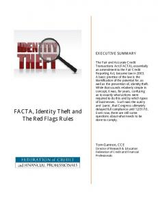 FACTA, Identity Theft and The Red Flags Rules