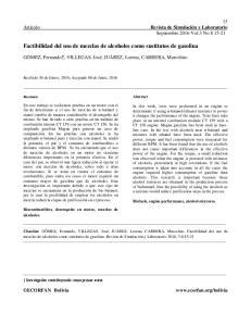 Factibilidad del uso de mezclas de alcoholes como sustitutos de gasolina
