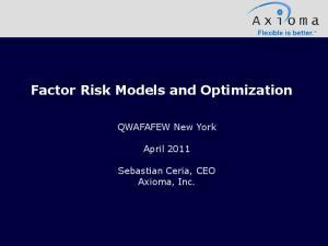 Factor Risk Models and Optimization