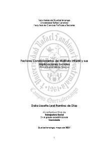 Factores Condicionantes del Maltrato Infantil y sus Implicaciones Sociales (Realizada en el Valle de Palajunoj)