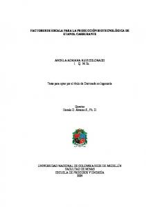 FACTORES DE ESCALA PARA LA PRODUCCIÓN BIOTECNOLÓGICA DE ETANOL CARBURANTE
