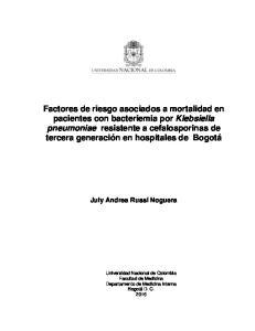 Factores de riesgo asociados a mortalidad en pacientes con bacteriemia por Klebsiella pneumoniae