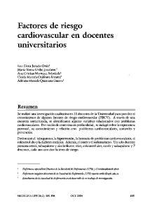 Factores de riesgo. cardiovascular en docentes UnlVersltarlOS. Resumen