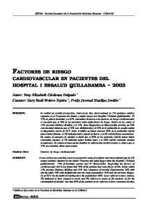FACTORES DE RIESGO CARDIOVASCULAR EN PACIENTES DEL HOSPITAL I ESSALUD QUILLABAMBA