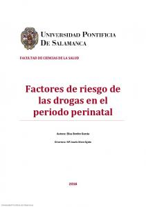 Factores de riesgo de las drogas en el periodo perinatal