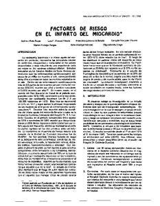 factores DE RIESGO EN El INFARTO DEL MIOCARDIO