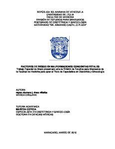 FACTORES DE RIESGO EN MALFORMACIONES CONGENITAS FETALES