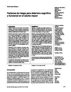 Factores de riesgo para deterioro cognitivo y funcional en el adulto mayor