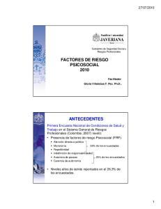 FACTORES DE RIESGO PSICOSOCIAL 2010 ANTECEDENTES