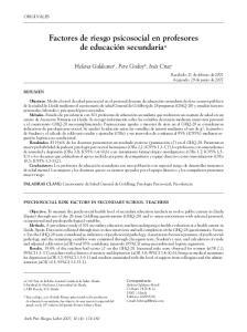 Factores de riesgo psicosocial en profesores de educación secundaria*