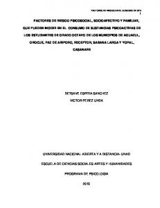 FACTORES DE RIESGO PSICOSOCIAL, SOCIOAFECTIVO Y FAMILIAR, QUE PUEDEN INCIDIR EN EL CONSUMO DE SUSTANCIAS PSICOACTIVAS DE