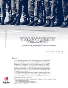 FACTORES DE RIESGO PSICOSOCIAL VINCULADOS A LA LABOR EN LAS FUERZAS ARMADAS