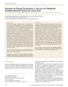 Factores de Riesgo Psicosocial y Burnout en Población Económicamente Activa de Lima, Perú