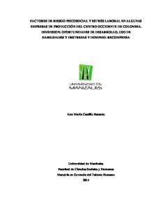 FACTORES DE RIESGO PSICOSOCIAL Y ESTRÉS LABORAL EN ALGUNAS EMPRESAS DE PRODUCCIÓN DEL CENTRO OCCIDENTE DE COLOMBIA