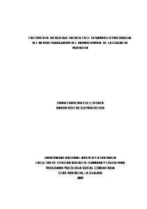 FACTORES DE RIESGO QUE INCIDEN EN EL DESARROLLO PSICOSOCIAL DEL MENOR TRABAJADOR DEL BARRIO DIVIDIVI DE LA CIUDAD DE RIOHACHA