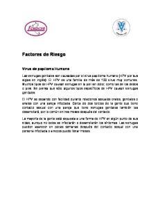 Factores de Riesgo. Virus de papiloma Humano