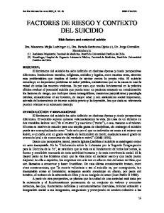 FACTORES DE RIESGO Y CONTEXTO DEL SUICIDIO