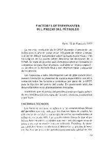 FACTORES DETERMINANTES DEL PRECIO DEL PETROLEO