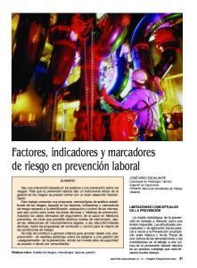 Factores, indicadores y marcadores de riesgo en prevención laboral