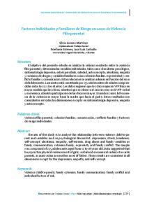 Factores Individuales y Familiares de Riesgo en casos de Violencia Filio-parental