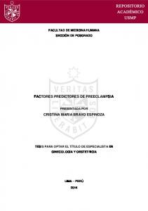 FACTORES PREDICTORES DE PREECLAMPSIA