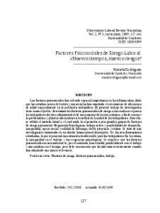Factores Psicosociales de Riesgo Laboral: Nuevos tiempos, nuevos riesgos?