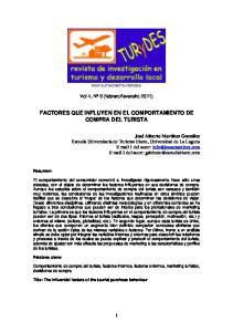 FACTORES QUE INFLUYEN EN EL COMPORTAMIENTO DE COMPRA DEL TURISTA