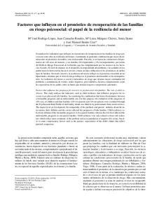 Factores que influyen en el pronóstico de recuperación de las familias en riesgo psicosocial: el papel de la resiliencia del menor