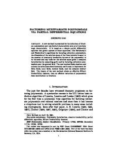 FACTORING MULTIVARIATE POLYNOMIALS VIA PARTIAL DIFFERENTIAL EQUATIONS