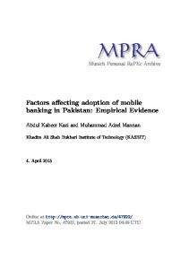 Factors affecting adoption of mobile banking in Pakistan: Empirical Evidence