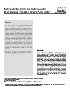 Factors Affecting Distribution Performance for Pharmaceutical Products in Kenya s Public Sector