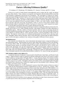 Factors Affecting Echinacea Quality*