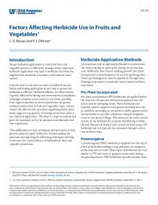 Factors Affecting Herbicide Use in Fruits and Vegetables 1