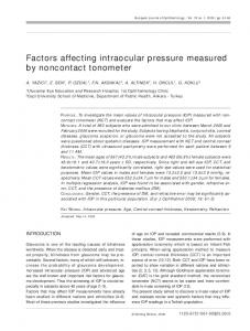 Factors affecting intraocular pressure measured by noncontact tonometer