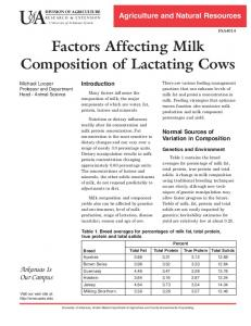 Factors Affecting Milk. Composition of Lactating Cows