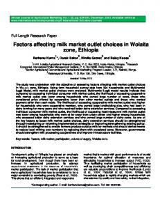 Factors affecting milk market outlet choices in Wolaita zone, Ethiopia