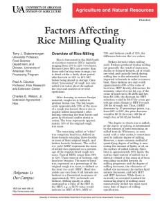 Factors Affecting Rice Milling Quality