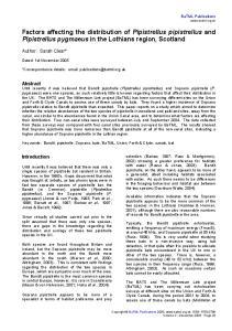 Factors affecting the distribution of Pipistrellus pipistrellus and Pipistrellus pygmaeus in the Lothians region, Scotland