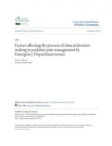 Factors affecting the process of clinical decisionmaking in pediatric pain management by Emergency Department nurses