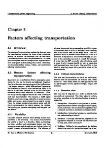 Factors affecting transportation