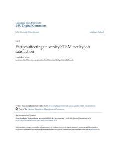 Factors affecting university STEM faculty job satisfaction