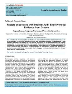 Factors associated with Internal Audit Effectiveness: Evidence from Greece