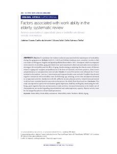 Factors associated with work ability in the elderly: systematic review
